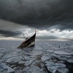Sinking boat off Hokkaido Photo Art Alastair Magnaldo